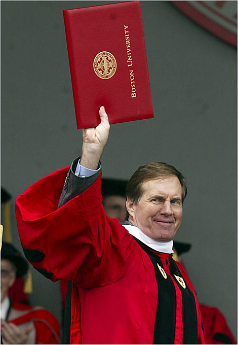 New England Patriots coach Bill Belichick shows a rare smile after receiving an honorary doctorate degree at Nickerson Stadium during Boston University's commencement activities in 2004.