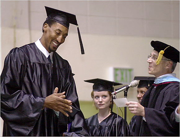 Scottie Pippen, during his days as a Trailblazer, missed a game so he could receive his bachelor of science degree in kinesiology from the University of Central Arkansas.
