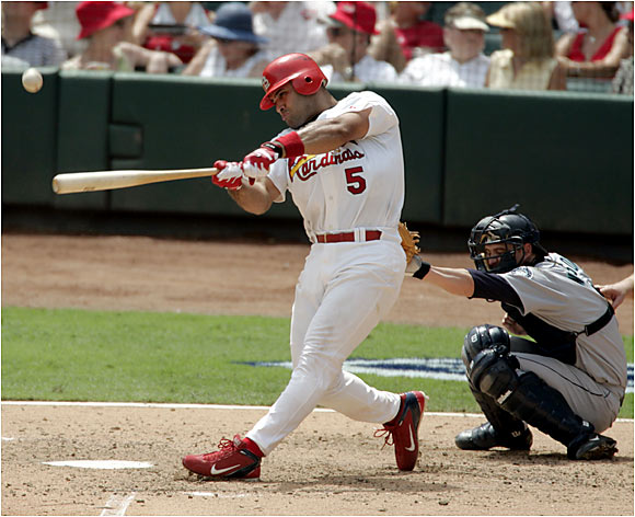 Baseball's most complete hitter has yet to see a pitch he couldn't punish. Power? Try five straight seasons of at least 34 homers, and 25 in his first 51 games this year. Average? How about .331 over the course of his career. And for those sabermetricians out there, the Cardinals first baseman gets on base 41 percent of the time. That's not a bad start for a 26-year-old, huh?