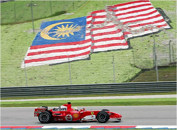 Felipe Massa of Brazil practices for the Malaysian Grand Prix on March 17 in Sepang. Massa and his Ferrari would later finish fifth behind Giancarlo Fisichella of Italy.