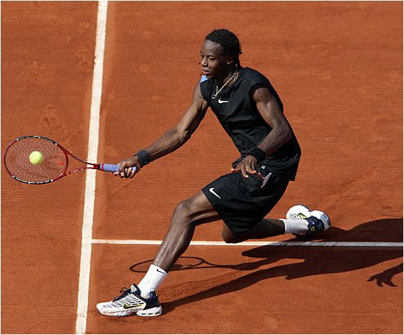 Gael Monfils' amazing run through the French Open ended with a fourth-round loss to Novak Djokovic of Serbia.