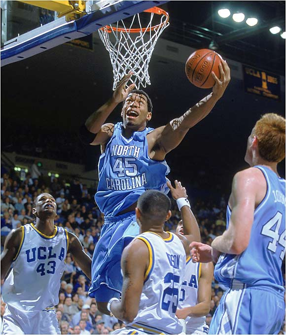 At North Carolina, Peppers won the Chuck Bednarik and Lombardi Awards, a testament to his ferocity as the nation's best defensive end. He also played power forward for the storied Tar Heels, who reached the Final Four in 2000. He even led the team in field goal percentage, shooting over 60 percent from the floor.