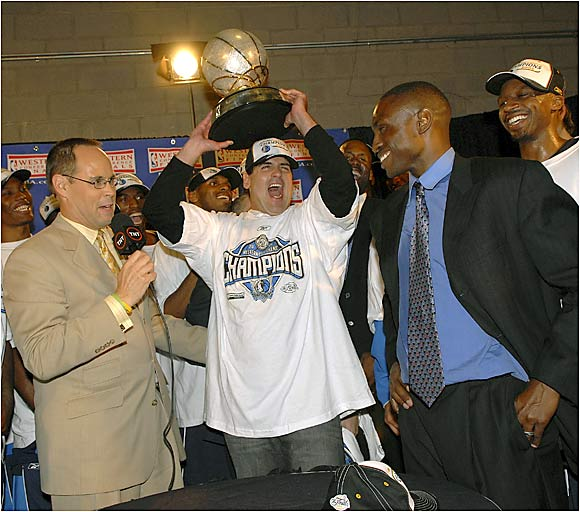 "This season the Mavericks adjusted to Johnson's defensive-minded approach and improved to 60-22. Johnson was named Coach of the Year, and the team finally shed its ""soft"" label. The playoffs spelled more success for the Mavs, who swept the Grizzlies, defeated the Spurs in seven games and advanced to the NBA Finals by defeating the Suns in six games."