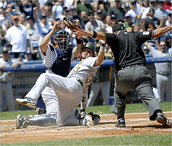 Left fielder Nick Swisher hit an inside-the-park home run on Sunday for the A's, who have won four games in a row after 1-10 skid. The A's swept the Yankees in a three-game series in the Bronx.