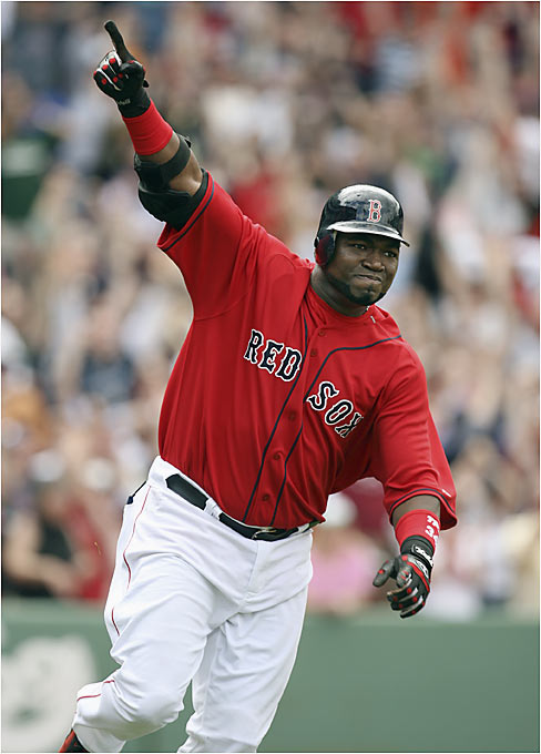 With the Red Sox down two runs in the ninth inning, David Ortiz slapped a two-out, two-strike pitch from Rangers closer Akinori Otsuka over the wall for a three-run walk-off homer at Fenway Park on Sunday.