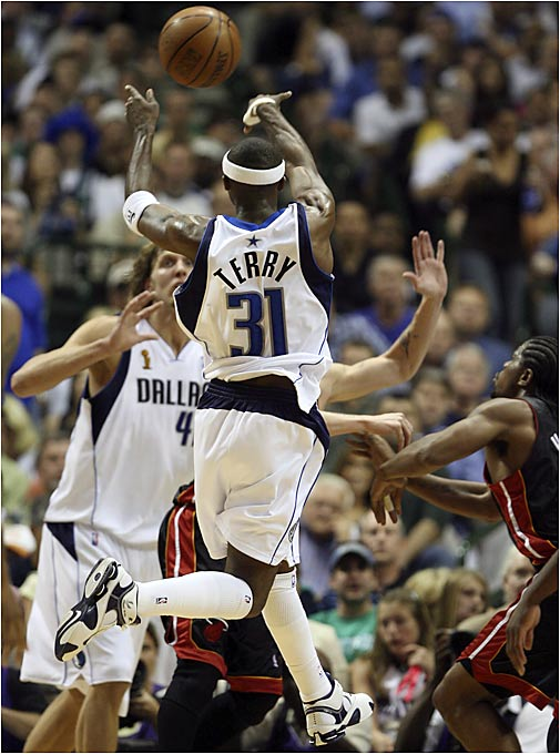 After helping to down Miami in Game 1 with his shooting (32 points), Jason Terry helped beat the Mavs in Game 2 with his passing, handing out nine assists.