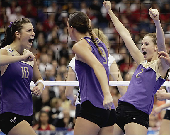 Washington's spikers became the school's third program to win a national title and only the second team to sweep through the NCAA tournament, in which the Huskies didn't lose a game in six matches. With the final victory over Nebraska, Jim McLaughlin became the first coach to capture Division I titles with both men's (USC, 1990) and women's teams.