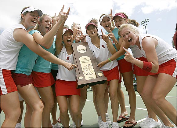 No. 1-ranked Stanford appeared in the title match for the 20th time in the 25-year history of the championship and posted a 4-1 victory over seventh-seeded Miami to claim the Cardinal's third straight and 15th overall women's team title. Stanford also improved its NCAA-record win streak to 86 matches.