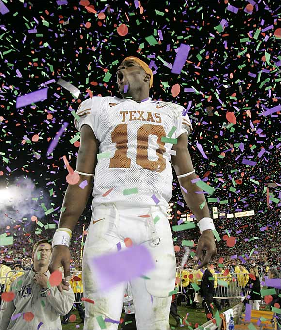 Vince Young ran for 200 yards, passed for 267 and capped a brilliant day by scrambling untouched for an eight-yard touchdown with 19 seconds left to give No. 2 Texas a stunning 41-38 win over No. 1 Southern California in the Rose Bowl. Texas ended USC's 34-game winning streak.