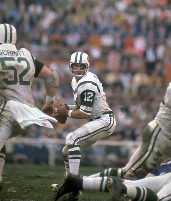 His guaranteed win validated the AFL, his quick trigger was without peer and his style (love the mink, Joe) earned him the best nickname in NFL history: Broadway Joe.
