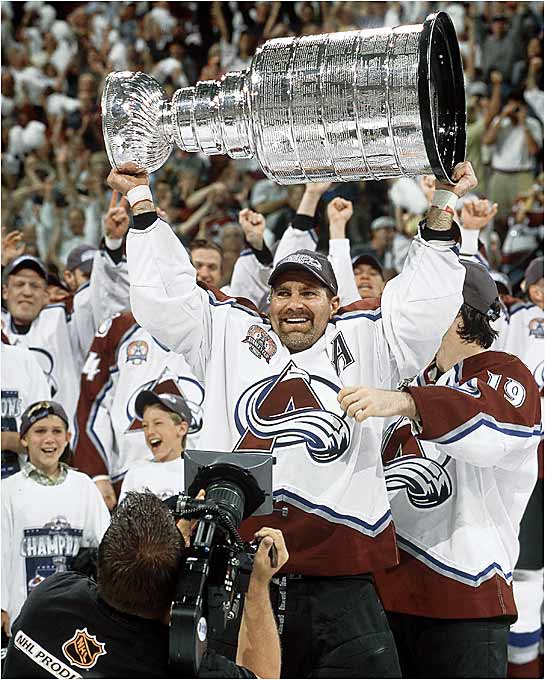 Coach Bob Hartley's Avalanche dethroned the defending champs in an emotional series that handed defenseman Ray Bourque his first Cup in his 22nd, and final, NHL season. Goaltender Patrick Roy won the Conn Smythe, getting a 4-0 shutout in Game 6 that staved off elimination. Colorado won its second Cup on the wings of two goals in Game 7 by 21-year old Alex Tanguay.