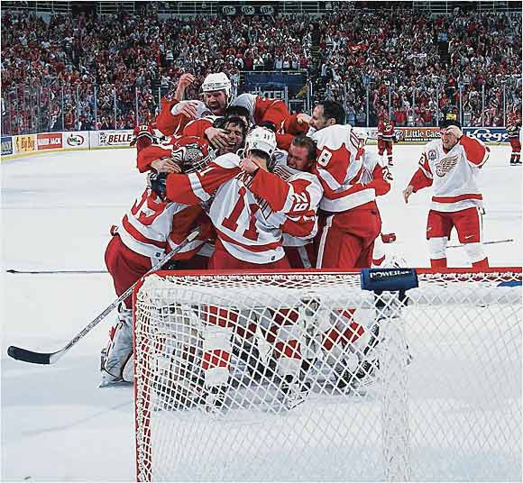 Heavy preseason favorites, the star-laden Wings were labeled the New York Yankees of the NHL. Dominik Hasek, Brett Hull, Sergei Fedorov, Chris Chelios, Nicklas Lidstrom (the Conn Smythe winner), Steve Yzerman and company made short work of the Hurricanes while winning the ninth and final Cup of coach Scotty Bowman's career.