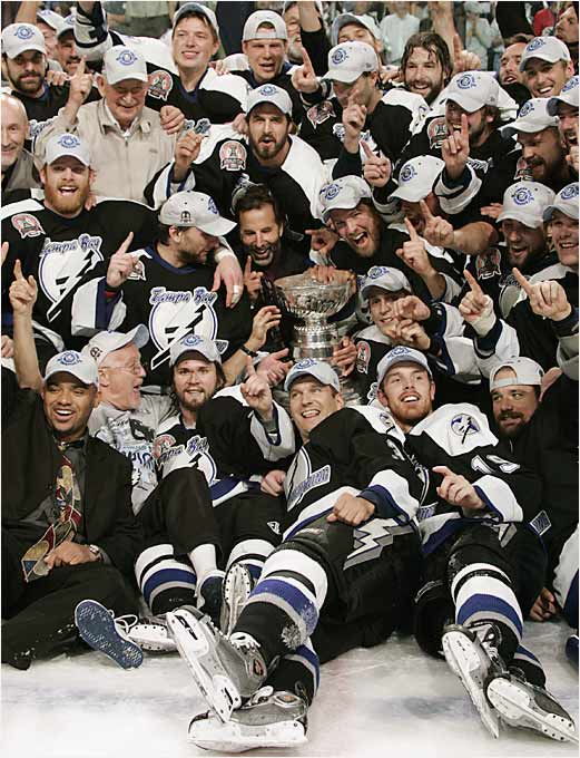 Coach John Tortorella's Lightning won the first Cup in their 12-year history by rallying out of a 3-2 series hole, only the fifth team ever to accomplish that feat in the finals. Conn Smythe Trophy-winner Brad Richards led all playoff scorers with 26 points, assisting on the first of Ruslan Fedotenko's two scores in Tampa Bay's 2-1 win in Game 7.