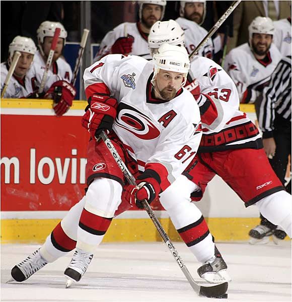 Hurricanes left wing Cory Stillman extended his playoff scoring streak to 12 games with a power play goal as his team took him one step closer to winning his second consecutive Stanley Cup. Stillman skated for Tampa Bay in 2004.