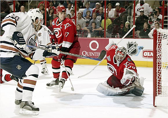 The finest moment thus far of Cam Ward's stellar playoff run was his game-saving, breathtaking save on Shawn Horcoff in the final moments of Game 1.