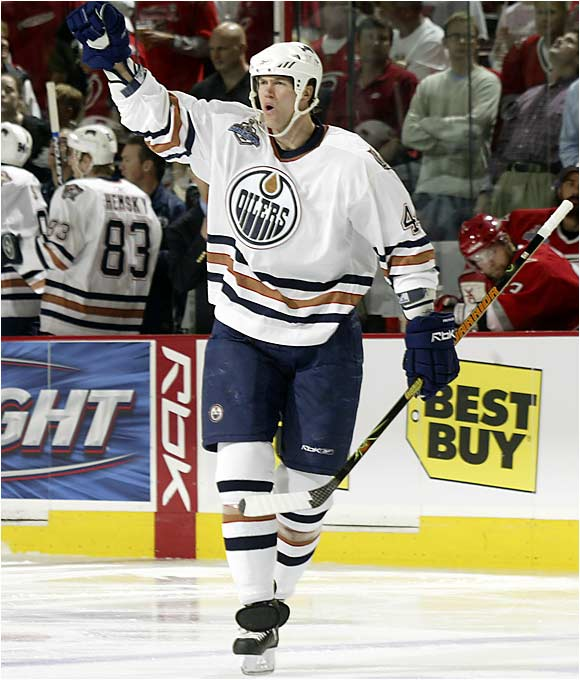 Hurricanes fans packed RBC Center in full-throated anticipation of the franchise's first Stanley Cup, but Oilers defenseman Chris Pronger hushed the festivities a bit when his shot 16 seconds into the opening period was deflected in by Fernando Pasani.