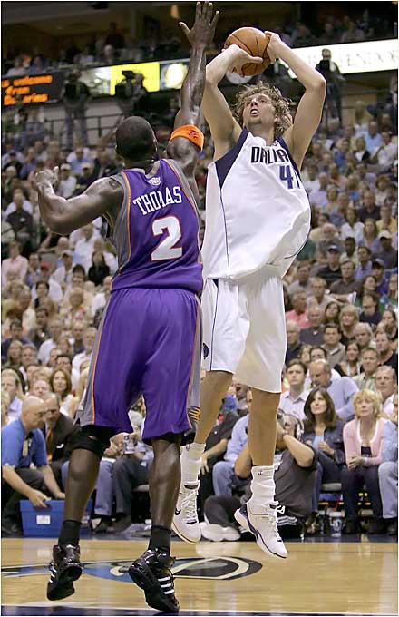 After scoring only 11 points in a Game 4 loss, Nowitzki rebounded with a franchise record 50 points in leading the Mavs to a crucial 117-101 Game 5 victory. Nowitzki also pulled down 13 rebounds and scored when it mattered most, netting 15 points during the fourth quarter.