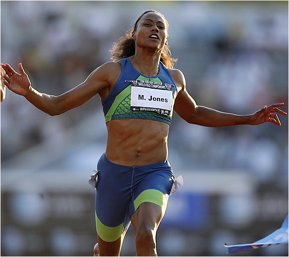 Marion Jones got off to a quick start and won the women's 100M final at the U.S. Track and Field Championships with a time of 11.10.
