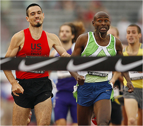 Bernard Lagat won the 1,500 meters in 3 minutes, 39.29 seconds, narrowly defeating Gabe Jennings.
