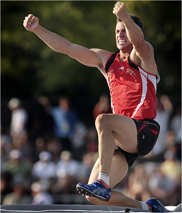 Russ Buller won the pole vault on Saturday with a jump of 19 feet, 1/4 inch.