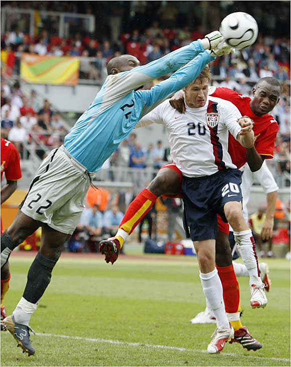 The U.S. couldn't mount a consistent attack to challenge Ghanaian keeper Richard Kingson. Striker Brian McBride sent a diving header off of the left post in the second half for one of  the team's few scoring threats. Despite the outpouring of support from American fans inside the 45,000-seat stadium in Nuremberg, the U.S. couldn't pull of the win that it needed to advance.