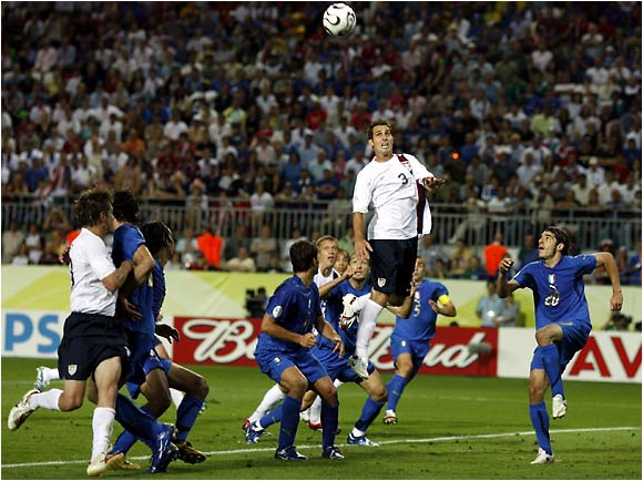 Carlos Bocanegra gets major hang time as he tried to put the United States ahead.