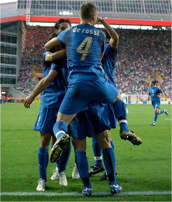 The Italians did score the first goal of the game, but their celebration would be short-lived.