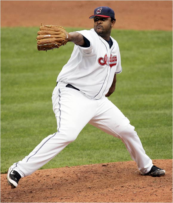 "C.C. stands for Carsten Charles, but could easily mean ""Cubic Centimeters"" as Cleveland's ace has got a whole lot of `em at 6' 7"" and 290 pounds -- up from 260 during his rookie season when he won 17 games for the Tribe. Fast and bulbous, Sabathia packs a 95-mph heater and was a three-sport star (football, basketball, baseball) at Vallejo (Cal.) high school."