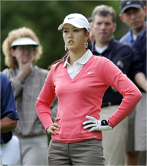 Michelle Wie woke up Monday hoping to make history by becoming the first female golfer to qualify for the men's U.S. Open. The teenager had a determined look during her morning round at Canoe Brook in Summit, N.J.