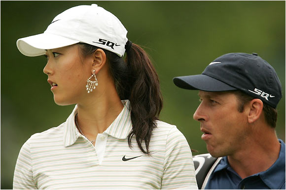 Wie and her caddie Greg Johnston hope to be playing at Winged Foot next week.