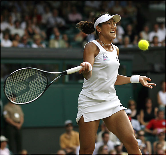 Ai Sugiyama struggled to get past 17-year-old British girl Naomi Cavaday in the opening round, but ended Martina Hingis' Wimbledon hopes.