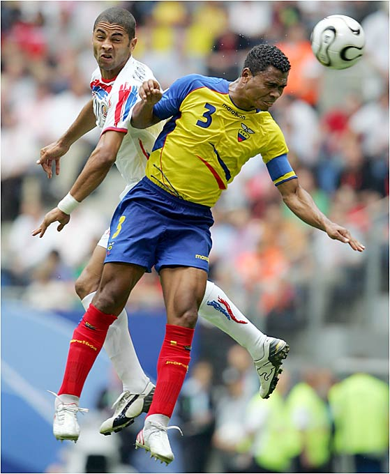Defenseman Ivan Hurtado (right) vies for a header against Costa Rica's Alvaro Saborio. Much of Ecuador's surprising success can be attributed to its stout defensive play; Ecuador has not surrendered a goal in two matches, but it will face a serious challenge Tuesday against Germany.