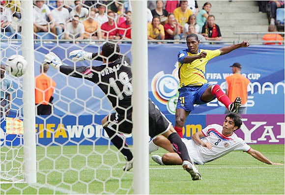 Agustin Delgado blasts home Ecuador's second goal in the 54th minute of its match against Costa Rica in Hamburg. Playing in only its second World Cup, Ecuador has emerged as the Cinderella story of the first round. On Thursday, Ecuador knocked off Costa Rica 3-0 to advance to the elimination round.