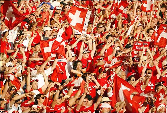 Swiss fans celebrated their team's point-earning draw with France on Tuesday in Stuttgart.