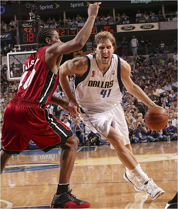 Although he carried the Mavericks to the championship round, Dirk Nowitzki struggled in Game 1, missing 10 of 14 shots while finishing with only 16 points.