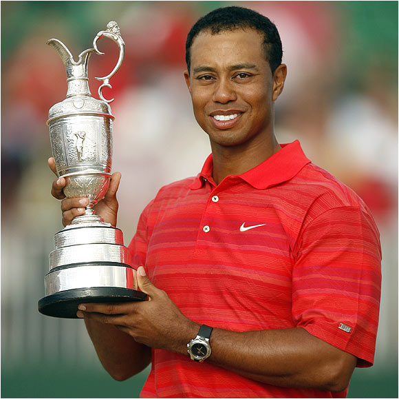 Tiger Woods became the first player to win back-to-back British Open titles since Tom Watson in 1982-83.