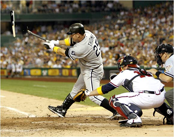 Jim Thome, one of seven White Sox players on the AL All-Star team, shatters his bat on an eighth-inning groundout.