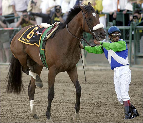 Barbaro's jockey, Edgar Prado, uses his body as a crutch as the horse limps off the Preakness track. Barbaro had broken the ankle of his right hind leg.