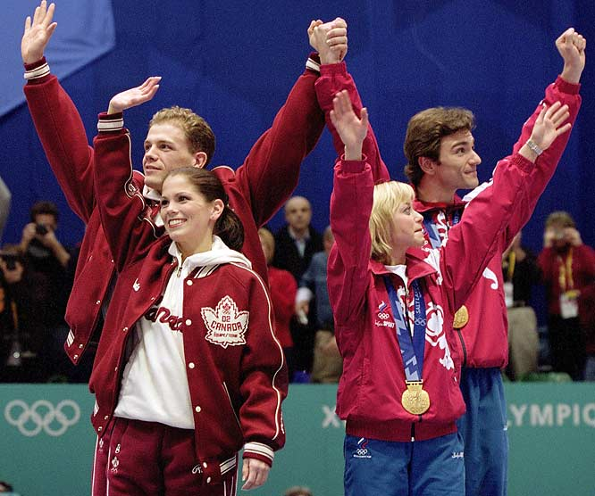 Blame the French. That's what Canadian figure skating pair Jamie Salé and David Pelletier did when French judge Marie-Reine Le Gougne placed Russia's Yelena Berezhnaya and Anton Sikharulidze ahead of them following the free skate in 2002's Salt Lake City Games. While four other judges had voted the same way, Gougne insisted afterward that she had been pressured by the head of the French federation, Didier Gailhaguet, to put the Russians first as part of a deal to give the ice dancing gold to the French team.