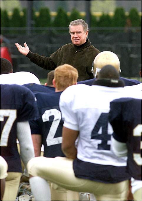 """In my estimation, the most famous and most spirited fan is Regis Philbin,"" said Joe Garner, whose book ""Echoes of Notre Dame Football"" was narrated by Philbin ('53). In 1998 Philbin, a frequent guest of honor at school pep rallies, launched the Lou Holtz Hall of Fame in Ohio Valley."