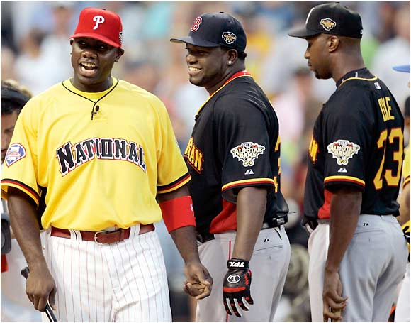Ryan Howard, David Ortiz and Jermaine Dye get a chance to size up the competition before the fireworks began.