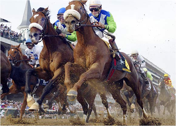 Barbaro (left) at the 2006 Kentucky Derby.