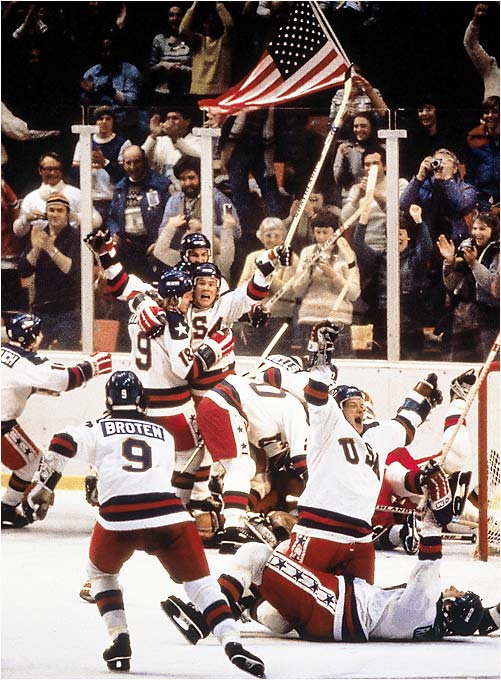 The U.S. hockey team celebrates at the 1980 Olympics in Lake Placid, N.Y.