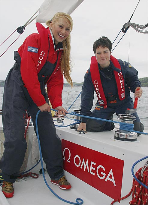 Kournikova learns sailing from solo yachtswomen Ellen MacArthur in Plymouth, England.