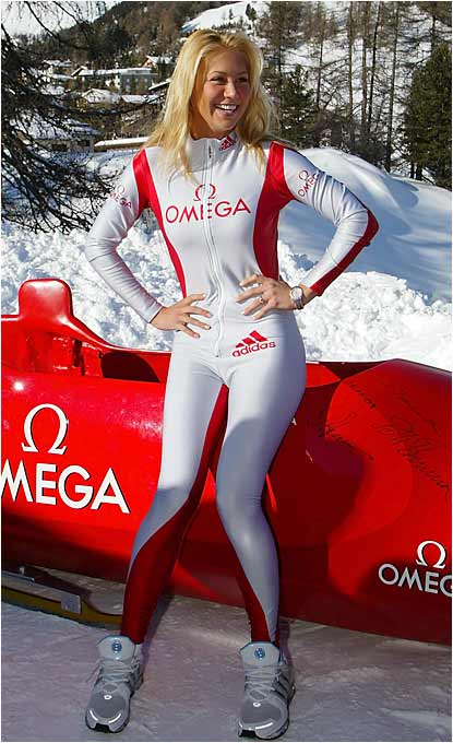Kournikova prepares for a bobsleigh run at the Omega Bobsleigh Cup in St. Moritz, Switzerland.