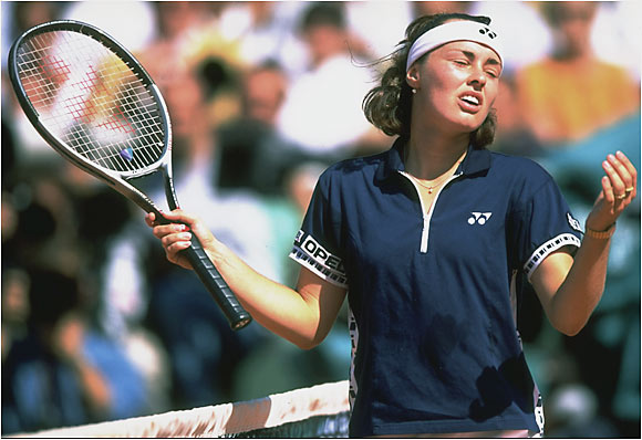 Hingis was only three points from victory over Steffi Graf, but she argued repeatedly with the referee over line calls, even crossing the net. She then took a bathroom break in the final set and delivered two bizarre, underhanded serves on match point. Graf won the match, and Hingis was reduced to tears during the awards ceremony.