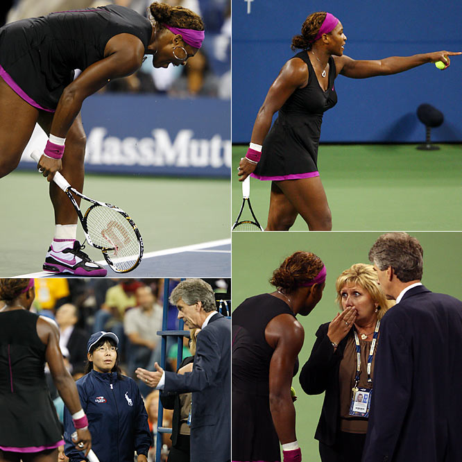 After losing a point when she was called for a foot fault on a second serve, Serena cursed at and threatened the line judge. She received a point penalty for the profane outburst, and because it came on match point, that ended her 6-4, 7-5 loss to Kim Clijsters. A day after the match, Williams was fined $10,000, and she could face additional discipline.