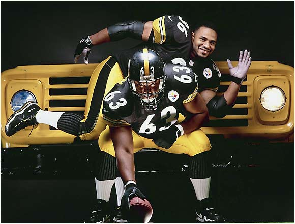 Steelers Jerome Bettis and Dermontti Dawson, shot in Pittsburgh on Nov. 20, 1998.