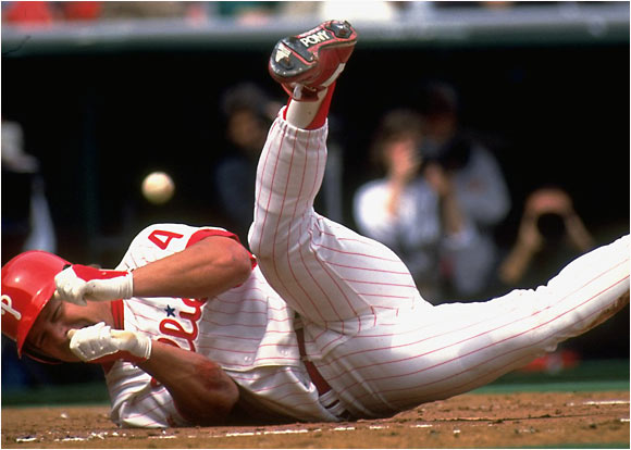 The Philadelphia Phillies' Lenny Dykstra was hit by a pitch (and broke his wrist) against the Chicago Cubs on April 7, 1992.