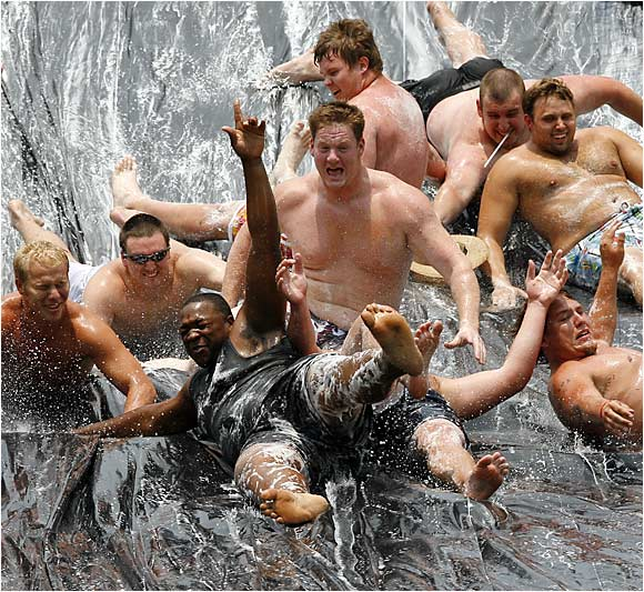 And you thought blocking defensive linemen in the Sun Belt Conference was tough. Try navigating a river made of plastic with several of your closest 300-pound friends.